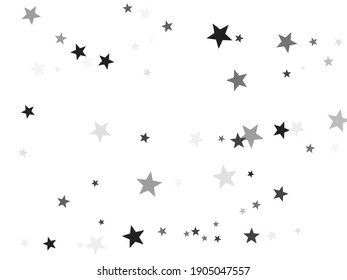 Black stars confetti charming holiday vector background. Star sparkles flying magical illustration. Black abstract party decoration elements on white.