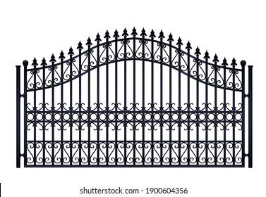 Black  steel fence. vector illustration