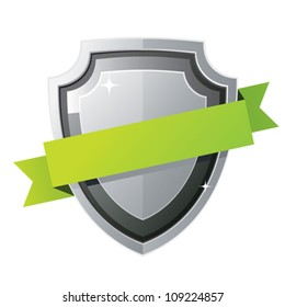 Black steel shield with green ribbon