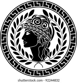 black stencil of patrician women. second variant. vector illustration