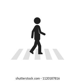 black stick figure man like pedestrian. concept of crosswalk crossing across the street or urbanistics element. flat style trend modern logotype graphic art design isolated on white background