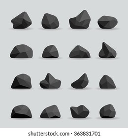 Black stones in flat style. Rock graphite coal or polygonal element. Polygonal black stones or poly rocks vector illustration