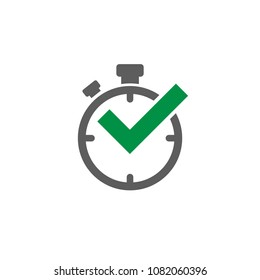 black stop-watch with green tick. Flat line icon isolated on white. Time pictogram. Done symbol.