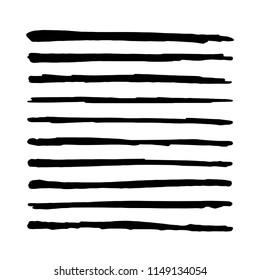 Black Straight vector brush. Hand drawn strokes. Textured Marker paint
