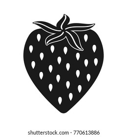 Black strawberry icon, on the white background. For web site or mobile app.