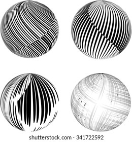 Black striped spheres on white background. Set.