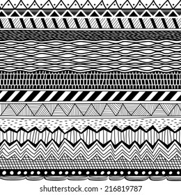 Black stripes and lines vector background pattern