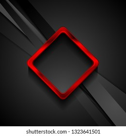 Black stripes and red glossy square frame abstract background. Vector technology design