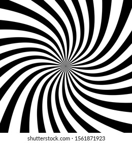 Black stripes in spiral form. Op art. Monochrome background. Geometric shape. Design element for prints, web, template, logo, presentation and textile pattern