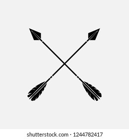 Black stylish crossed arrow vectors