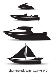 black stylized boat icons