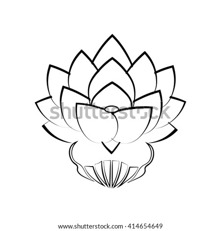 Black Stylized Image Lotus Flower On Stock Vector Royalty Free