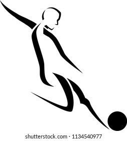 Black stylized line art of a male soccer player getting ready to kick the ball