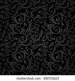Black stylized seamless pattern. Holiday background.