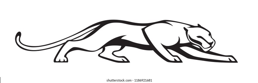 Black stylized silhouette of panther. Vector wildcat  illustration. Isolated on white background as logo or mascot.