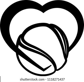 Black stylized tennis ball wrapped in the bottom of a heart.