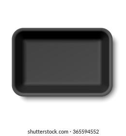 Black styrofoam food tray vector illustration