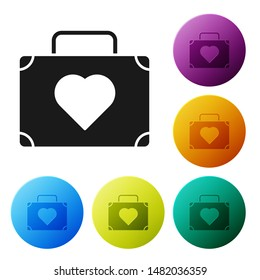 Black Suitcase for travel with heart icon isolated on white background. Honeymoon symbol. Traveling baggage sign. Travel luggage icon. Set icons colorful circle buttons. Vector Illustration