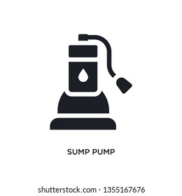 black sump pump isolated vector icon. simple element illustration from furniture and household concept vector icons. sump pump editable black logo symbol design on white background. can be use for