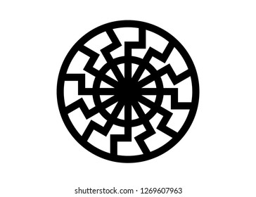 Black Sun Sonnenrad Symbol, sun wheel sign. The ancient European esoteric sign. Logo Graphic element circle shape. Vector Geometric isolated or white background