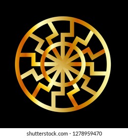 Black Sun symbol in gold- Schwarze Sonne- Occult subculture symbol