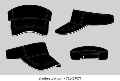Black Sun Visor Caps for Template