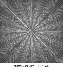 Black sunburst blank background. Grayscale sunbeam with noise effect texture. Empty retro empty vintage abstract backdrop. Template swatch in square format. Vector illustration design element 10 eps