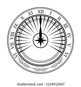 Black sundial silhouette isolated on white background