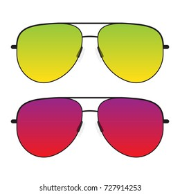 Black sunglasses with colorful green and yellow or red and purple glasses. Side view isolated on a white background transparent details.