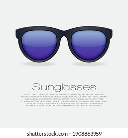 Black sunglasses with gradient mirror Lens. isolated illustration on white background with text for banner