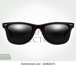 Black sunglasses. Realistic semi transparent vector graphic