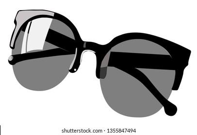 black sunglasses in vector