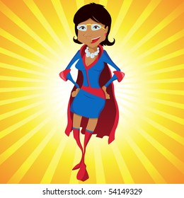 Black Super Woman Mother Cartoon with Yellow Background. Editable Vector Illustration