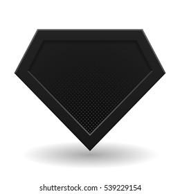 Black superhero logo template. Halftone dots, shadows. Vector, isolated, eps 10.