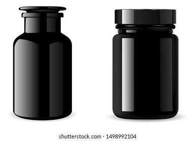 Black supplement bottle. Glossy Medicine jar mockup. 3d vector packaging for tablet, vitamin. Pill container isolated on white background. Medical glass flask for bath sea salt. Beauty product design