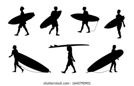 Black surfers with surfboards vector silhouettes set isolated on white background