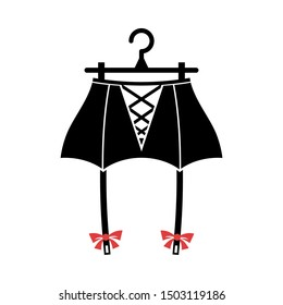 Black suspender belt on the hanger. Isolated vector illustration