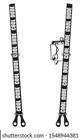 Black suspenders for cool dude with pocket print for t shirt vector illustration