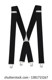 Black suspenders on white background. vector illustration