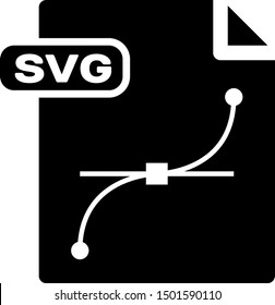 Black SVG file document. Download svg button icon isolated on white background. SVG file symbol.  Vector Illustration