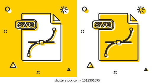 Black SVG file document. Download svg button icon isolated on yellow and white background. SVG file symbol. Random dynamic shapes. Vector Illustration