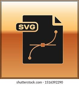 Black SVG file document. Download svg button icon isolated on gold background. SVG file symbol.  Vector Illustration