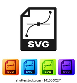 Black SVG file document icon. Download svg button icon isolated on white background. SVG file symbol. Set icon in color square buttons. Vector Illustration