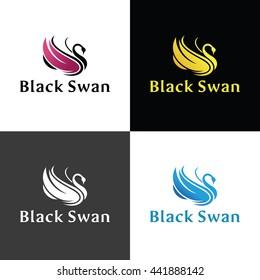 Black Swan Logo design template ,Vector illustration