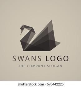 black swan logo sign emblem origami vector illustration