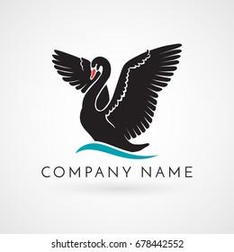 black swan on wave logo sign emblem on white background