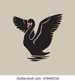 black swan reflection logo sign emblem