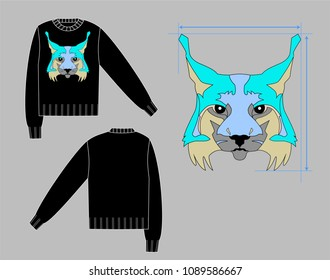 black sweater with lynx intarsia back and front views