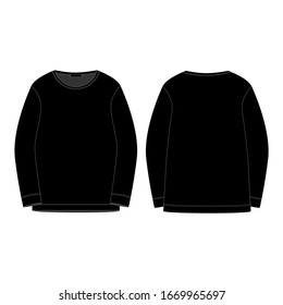 Black sweatshirt isolated isolated on white background. Front and back technical sketch. Sportswear, casual urban style. Fashion vector illustration