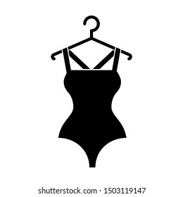 The black swimsuit on a hanger. Isolated vector illustration